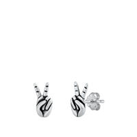 Silver Stud Earrings - Peace Sign