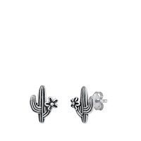Silver Stud Earrings - Cactus