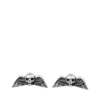 Silver Stud Earrings - Skull & Wings