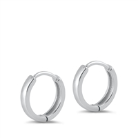 Silver Huggie Earrings - Rounded