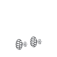 Silver Stud Earrings - Turtle Shell