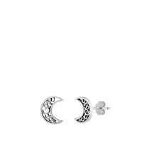 Silver Stud Earrings - Filigree Moon