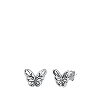 Silver Stud Earrings - Butterfly