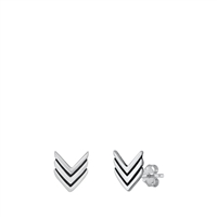 Silver Stud Earrings - Chevron
