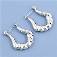Silver Hollow Hoop Earrings