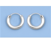 Silver Continuous Hoop Earrings - 3 X 14 mm