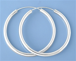 Silver Continuous Hoop Earrings - 3 X 50 Mm