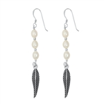 Silver Stud Earrings - Pearl Feather