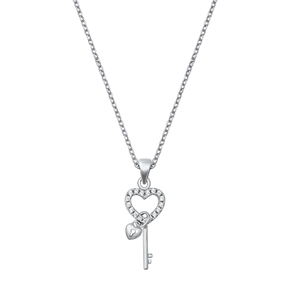 Silver Necklace W/ CZ - Heart and Key