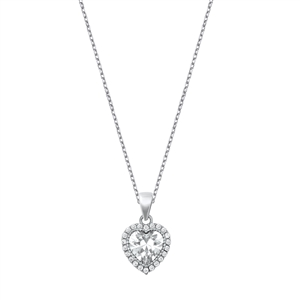 Silver Necklace W/ CZ - Heart