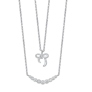 Silver Necklace w/ CZ - Bow
