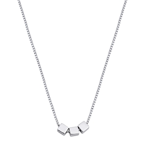 Silver Necklace - Cube