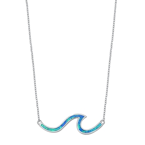 Silver Necklace W/ Lab Opal - Wave