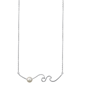 Silver Necklace - Waves & Pearl