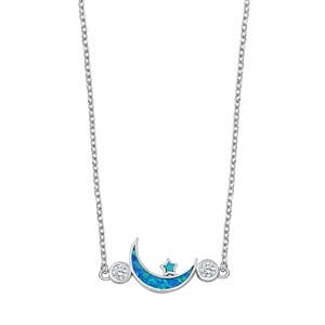 Silver Necklace - Moon & Star