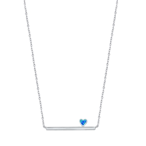 Silver Necklace - Heart & Bar