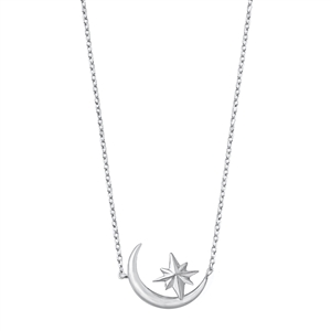 Silver Necklace - Moon and Star