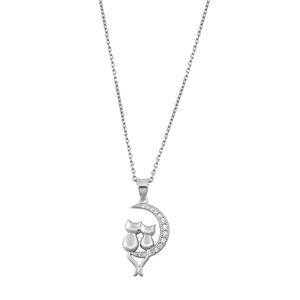 Silver Necklace - Cats & Crescent Moon