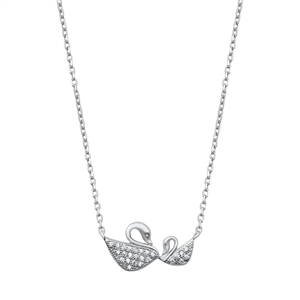 Silver Necklace - Mother and Baby Swans