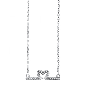 Silver Necklace - Heart Line