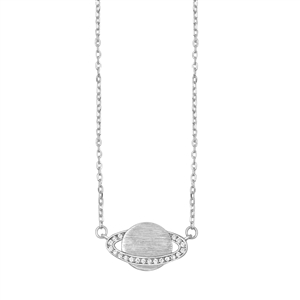 Silver Necklace W/ CZ - Planet Saturn