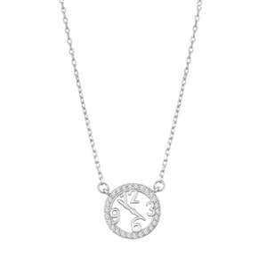 Silver Necklace W/ CZ - Clock