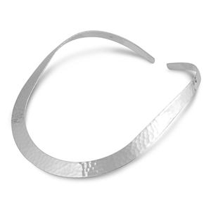 Silver Choker Necklace - Flat Hammered