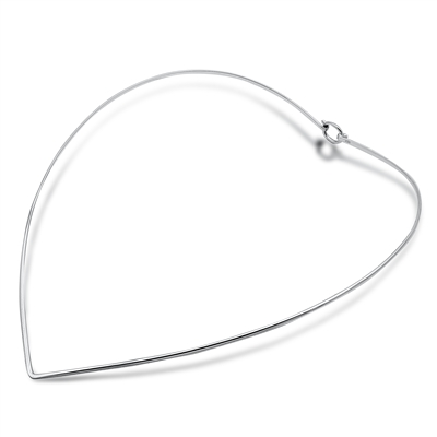 Silver Choker Necklace - Hook End