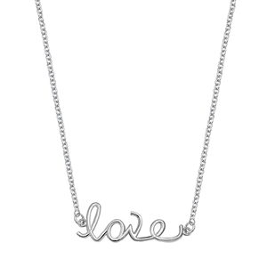 Silver Italian Necklace - Love