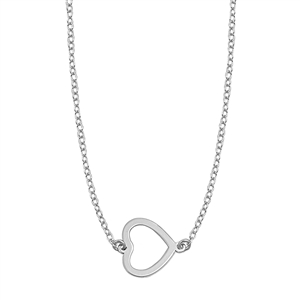Silver Italian Necklace - Sideways Open Heart