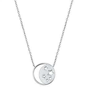 Silver Necklace - Moon and Stars