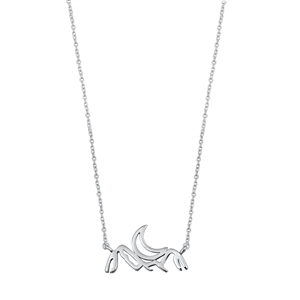 Silver Necklace - Mountains & Crescent Moon