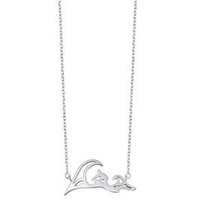 Silver Necklace - Wave and Surfer