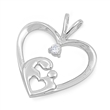 Silver Pendant W/ CZ - Mother & Child Heart