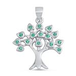 Silver Pendant W/ CZ - Tree of Life