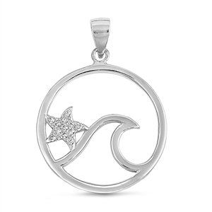 Silver Pendant W/ CZ - Ocean Wave and Starfish