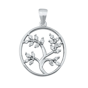 Silver CZ Pendant - Tree of Life