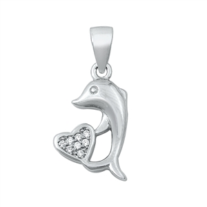Silver CZ Pendant - Dolphin and Heart