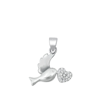 Silver CZ Pendant - Sparrow with Heart