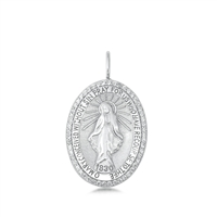 Silver CZ Pendant - Mother Mary