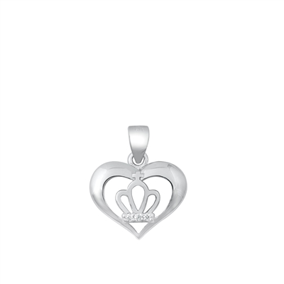 Silver CZ Pendant - Crown in Heart