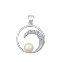 Silver CZ Pendant - Pearl and Wave