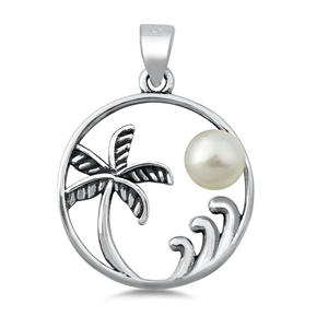 Silver CZ Pendant - Palm Tree and Wave