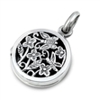 Silver Locket - Flowers & Butterfly