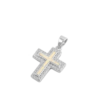 Silver Pendant W/ Lab Opal - Cross