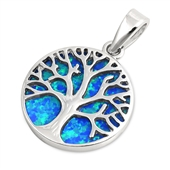 Silver Pendant W/ Lab Opal - Tree of Life