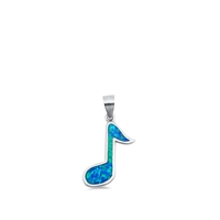 Silver Pendant W/ Lab Opal - Musical Note