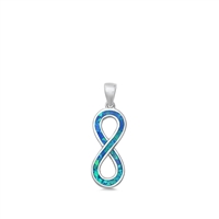 Silver Lab Opal Pendant - Infinity