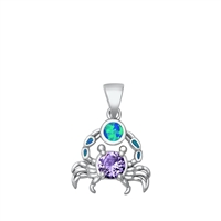 Silver Lab Opal Pendant - Crab