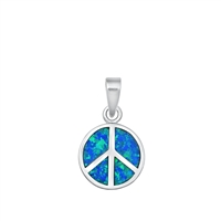 Silver Pendant W/ Lab Opal - Peace Sign